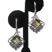 Lemon Quartz & Tanzanite Gemstones In 925 Sterling Silver Earrings