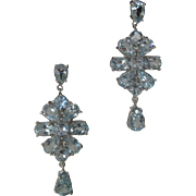 Genuine Baby Blue Topaz Open Back Stones Set In 925 Sterling Silver Earrings