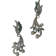 Gorgeous Genuine Emeralds & Pearls Dangling Earrings 925 Sterling Silver
