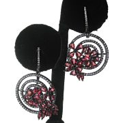 Raspberry Red Sapphires In Antique Finish Sterling Silver Earrings