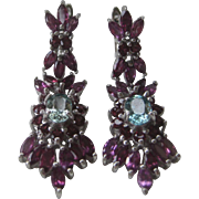 Genuine Garnets & Light Blue Zircon In 925 Sterling Silver Earrings