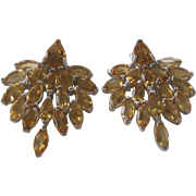 Genuine Openback Citrines Set In 925 Sterling Silver Earrings