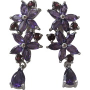 Genuine Purple Amethyst & Garnet Stones Hanging Earrings 925 Sterling Silver