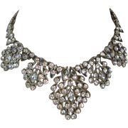 OSCAR DE LA RENTA Signed Zillions Of Large Rhinestones Bib Necklace