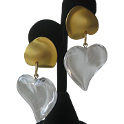 LIZA O Beautiful Lucite Hearts Earrings