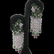 Chrome Diopside Rubies & White Topaz Stones In 925 Sterling Silver Flower Earrings