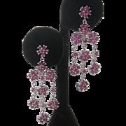 Dangling Rubies In 925 Sterling Silver Earrings