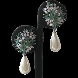 Genuine Emeralds & Faux Pearl Dangling Earrings
