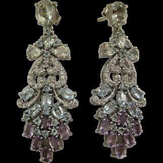 Amethyst & Blue Topaz Gemstones In 925 Sterling Silver Earrings