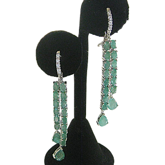 Natural Emeralds Set In 925 Sterling Silver Dangle Earrings