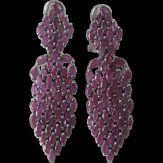 Lots Of Genuine Rubies Large Hanging Earrings In 925 Sterling Silver