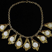 Art Deco Czech Brass & Glass Necklace
