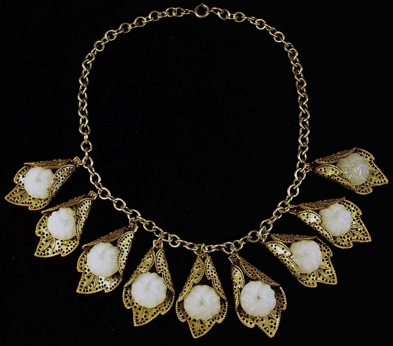Art Deco Czech Brass & Glass Necklace