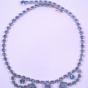 Vintage Pale Blue Rhinestone Necklace