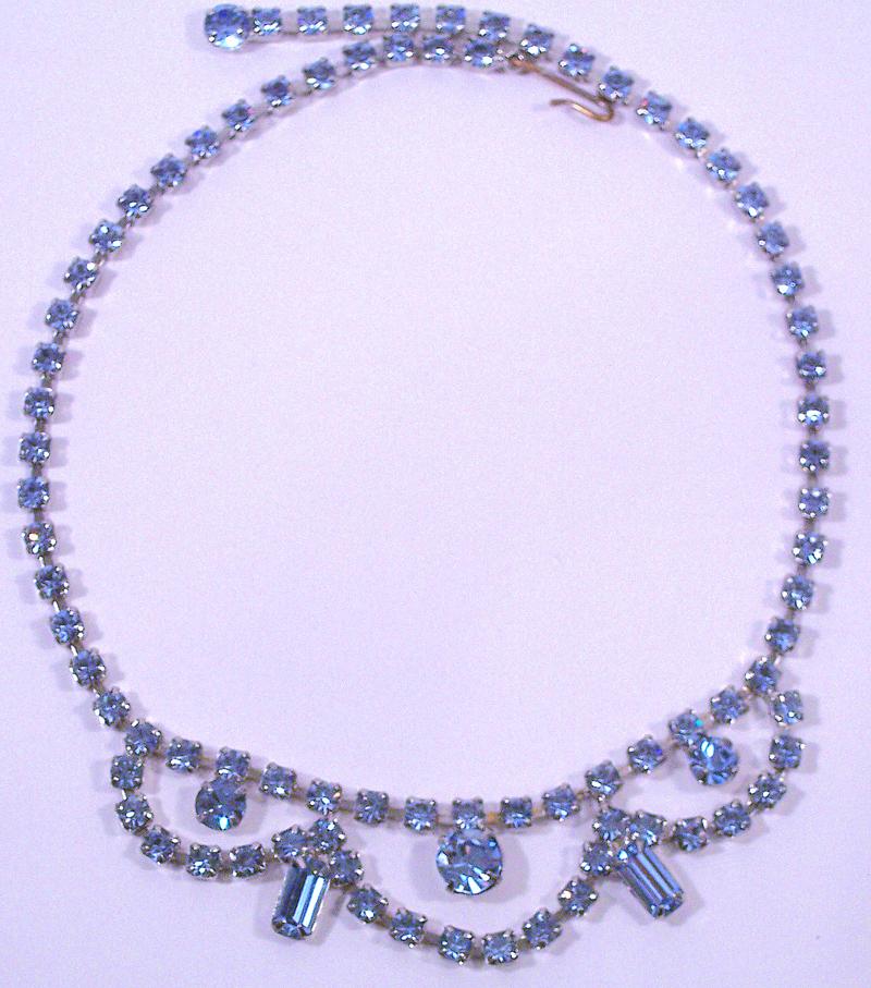 Vintage Pale Blue Rhinestone Necklace