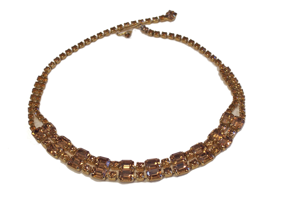 Vintage  Weiss Topaz Rhinestone Necklace (Unsigned)
