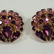 Vintage Warner Amethyst & Pink Rhinestone Earrings