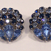 Vintage Warner Blue Rhinestone Earrings