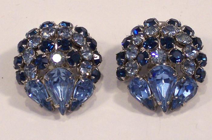 Vintage Warner Blue Rhinestone Earrings