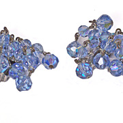 Vintage Pale Blue Crystal laguna Cascade Dangle Earrings