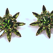 Vintage Judy Lee Olivine Green Rhinestone Starburst Earrings