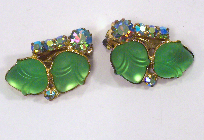 Juliana Green Art Glass Earrings