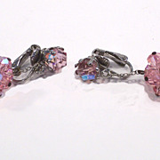 Vintage Pink Crystal Dangle Earrings