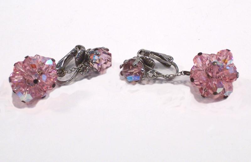 Vintage Pink Crystal Dangle Earrings