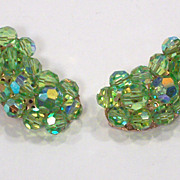Vintage Light Green AB Crystal Earrings