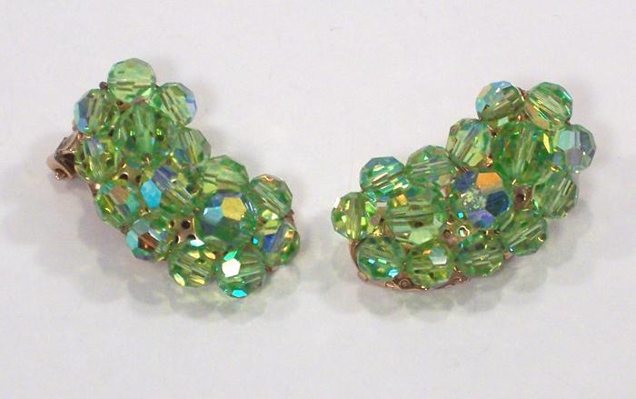 Vintage Light Green AB Crystal Earrings