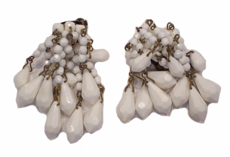 Vintage White Lucite Briolette Chandelier Earrings