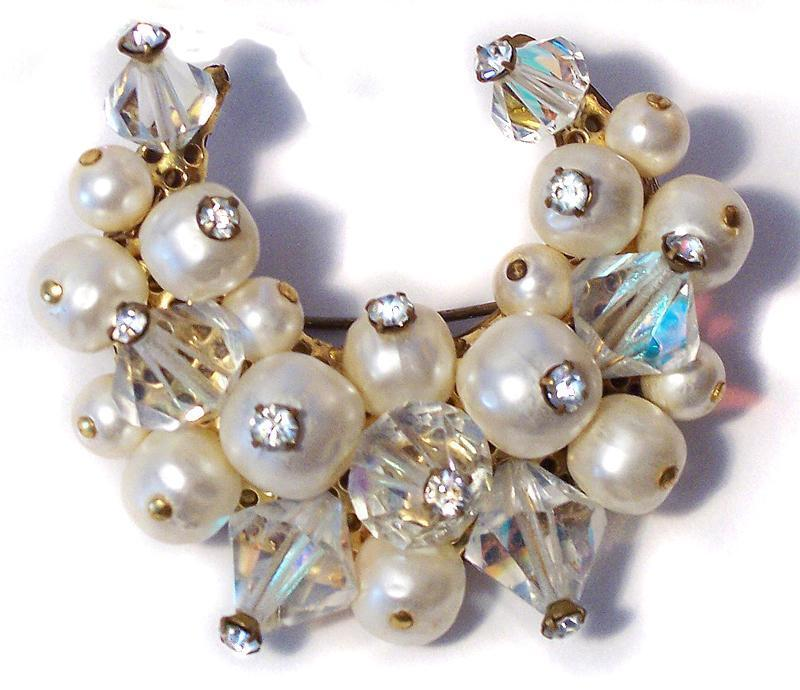 Vintage Crystal and Baroque Pearl Crescent Brooch