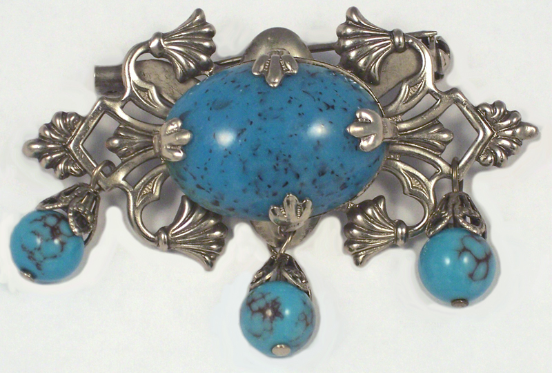 Vintage Turquoise Art Glass Dangle Brooch