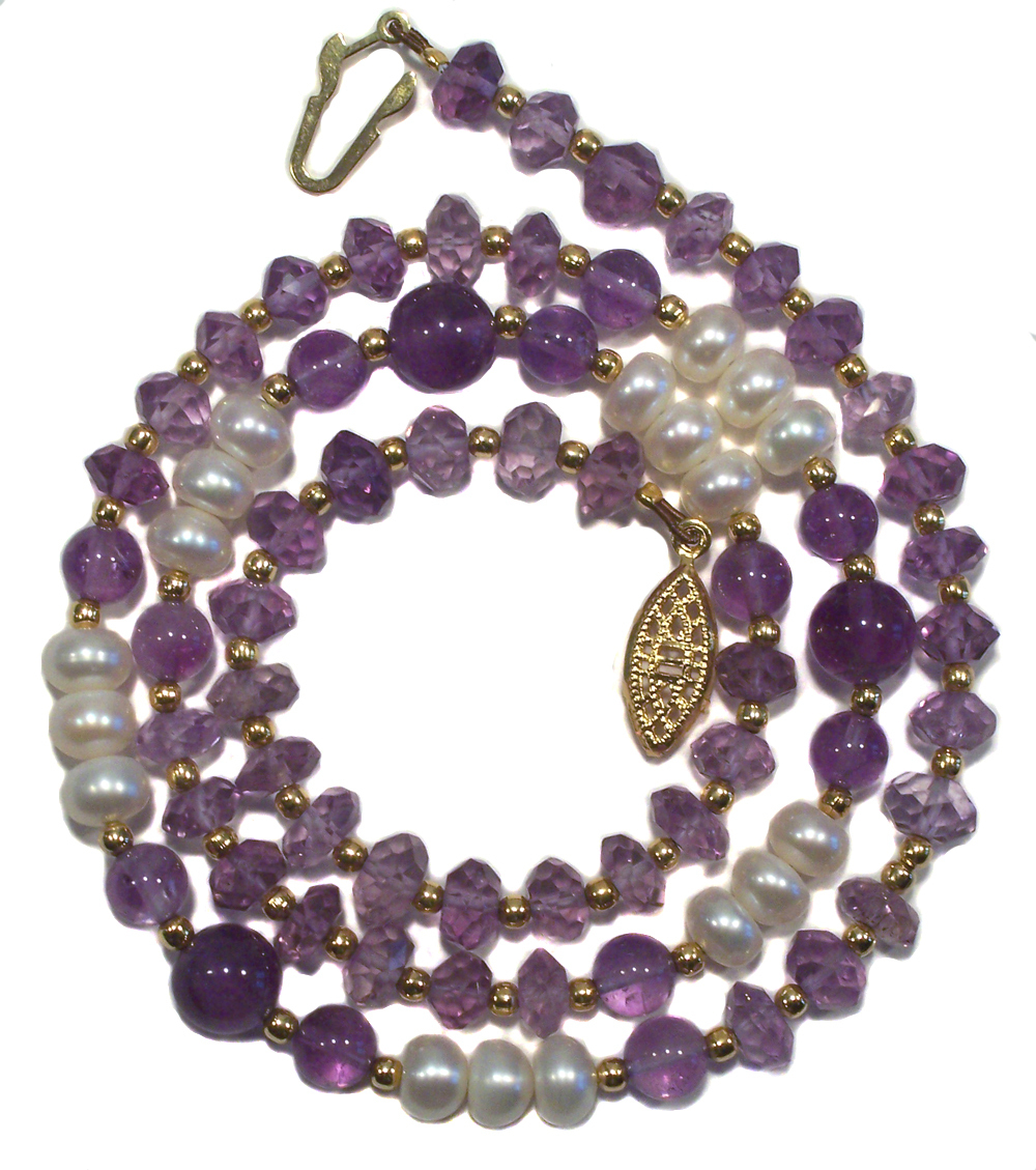 Natural Faceted Amethyst & Pearl Necklace