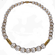 Crystal Single strand Rhinestone Rondel Necklace