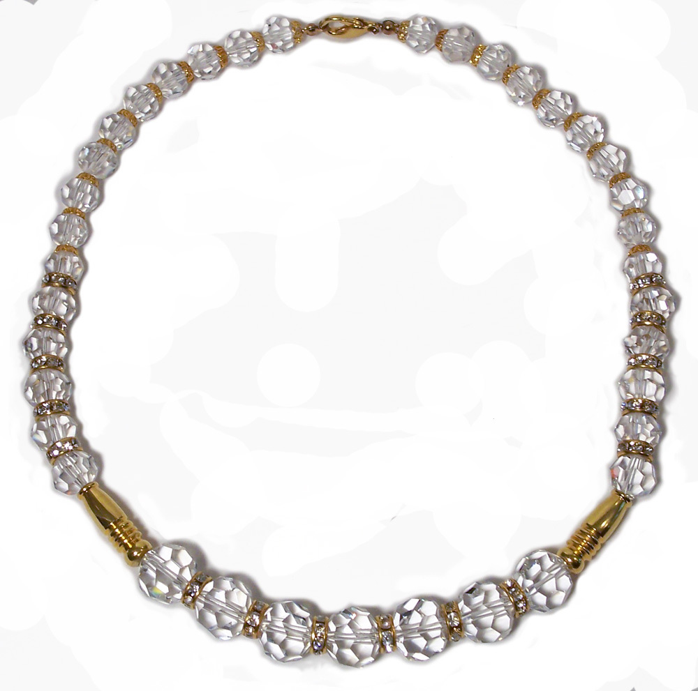 Crystal Single strand Rhinestone Rondel Necklace