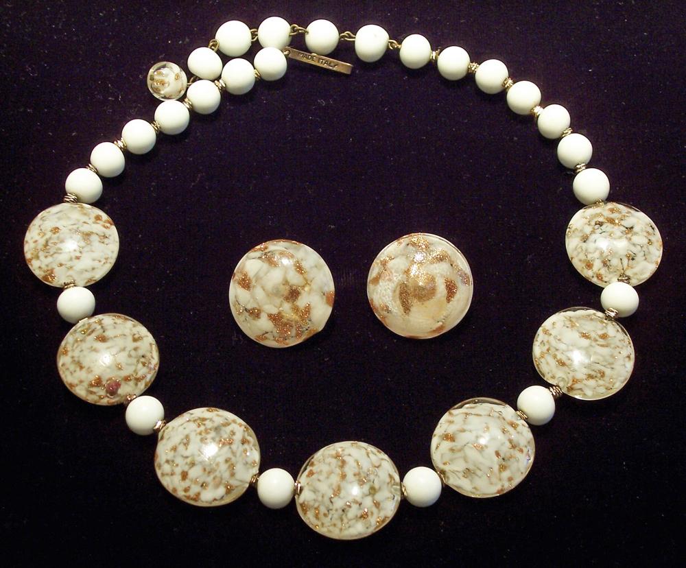 Venetian Aventurine White Sommerso Glass Necklace Earrings Demi