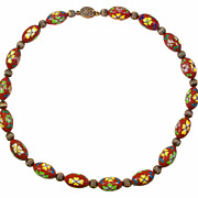 Rare Vintage Chinese Cloisonne Oval Bead Necklace