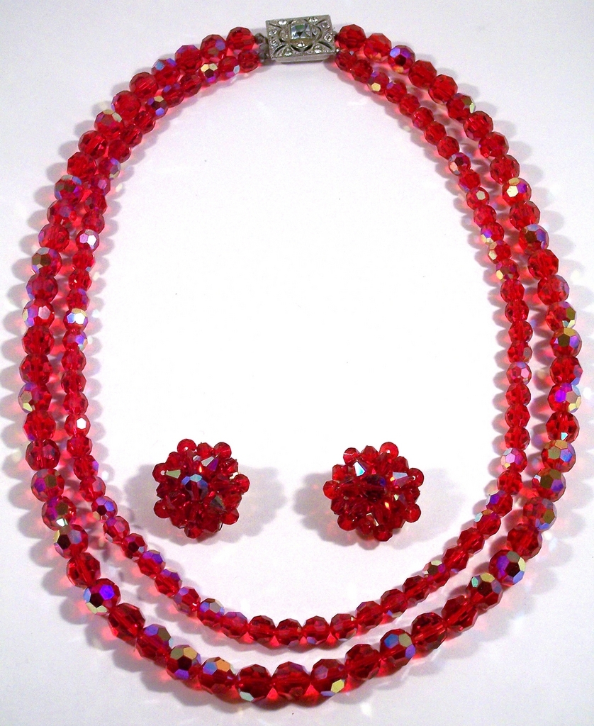 Austrian 2 strand Red Crystal Necklace Earrings Demi