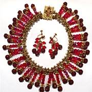 Rare Miriam Haskell Red Crystal Rhinestone Bib Necklace