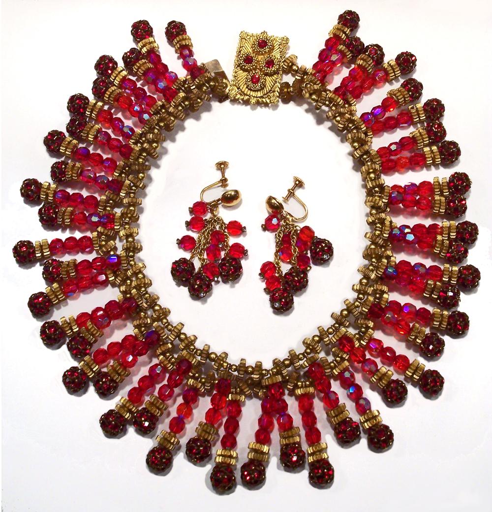 Rare Miriam Haskell Red Crystal Rhinestone Bib Necklace