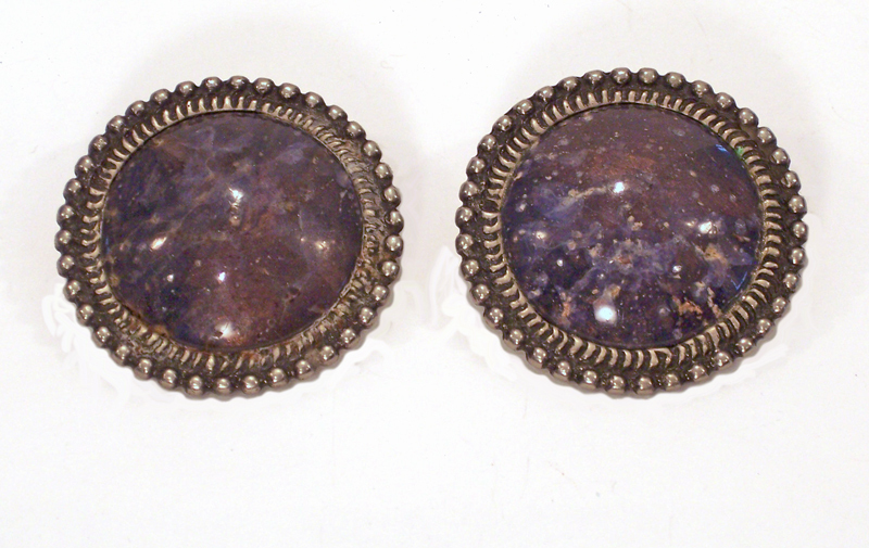 Huge Lapis Vintage Clip on Earrings