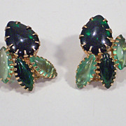 Juliana Light & Dark Green Smooth Marquise Rhinestone Earrings
