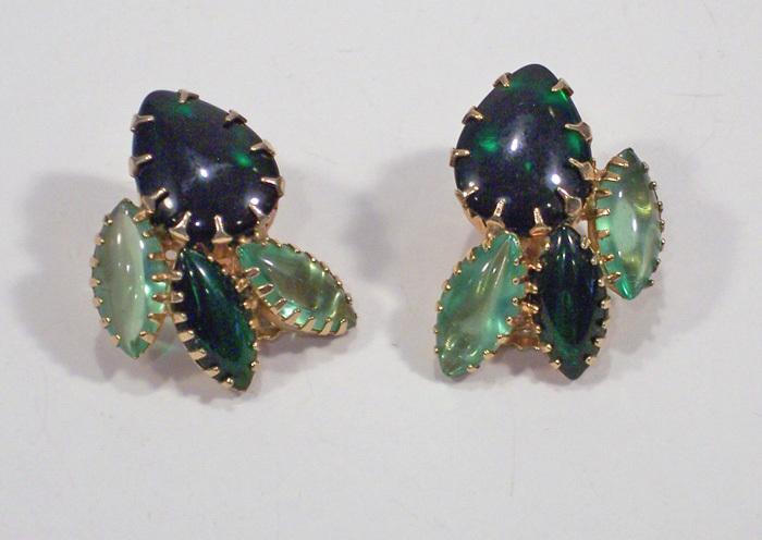 Juliana Light & Dark Green Smooth Marquise Rhinestone Earrings