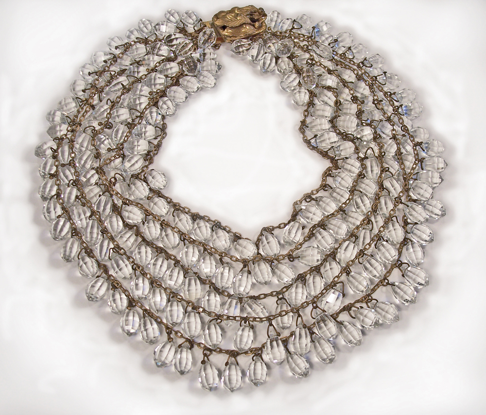 Vintage 5 strand Crystal Briolette Necklace