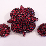 Rare Joseph Warner Red Japanned Brooch & Earrings Set