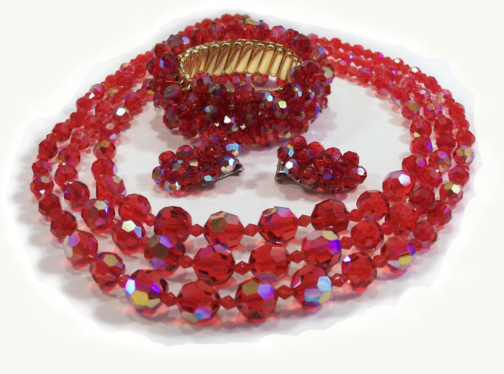 3 Strand Siam Red Crystal Necklace Bracelet Earring Parure