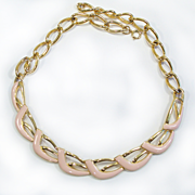Vintage Soft Peach Enamel & Gold Tone Necklace