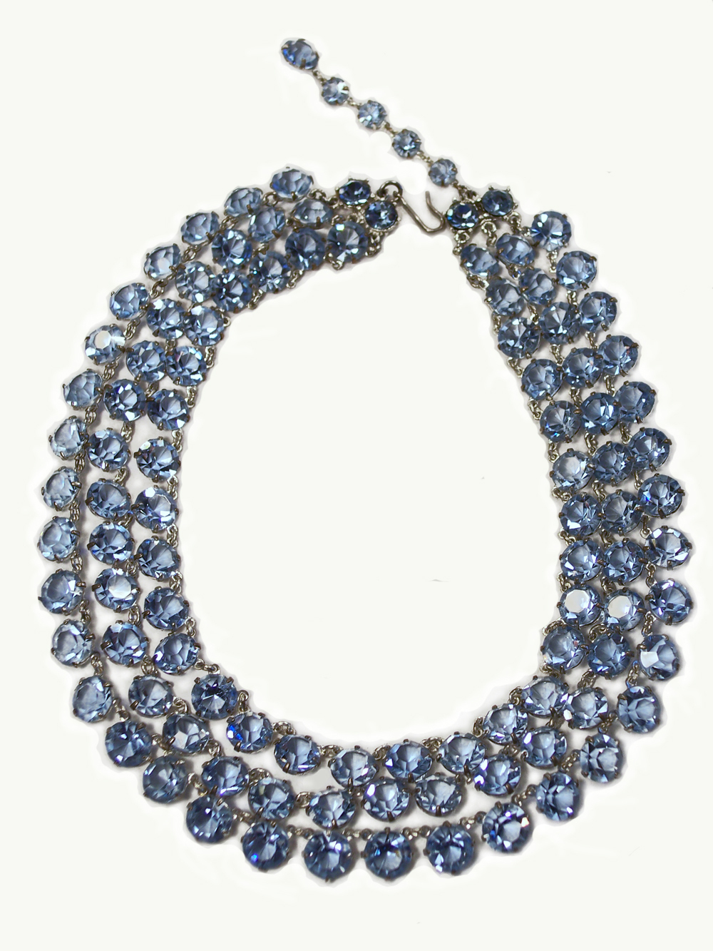 Sapphire Blue Glass 3 Strand Open Back Necklace