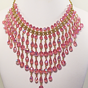 Dripping Pink Crystal Bib Necklace